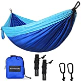 SHINE HAI Double Camping Hammock, Portable Lightweight Parachute Nylon Garden Hammock, Two Persons Bed for Backpacking, Camping, Travel, Beach, Yard, Blue