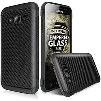 galaxy j7 case with tjs tempered glass screen protector included hybrid hard
