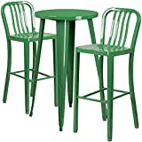 Flash Furniture 24'' Round Green Metal Indoor-Outdoor Bar Table Set with 2 Vertical Slat Back Stools