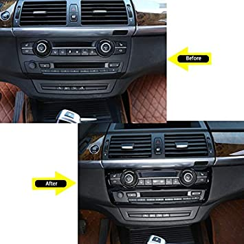 Glossy Black Car ABS Air Conditioner Volume Decoration Button Frame Trim Accessories For BMW X5 X6 E70 E71 2008-2013