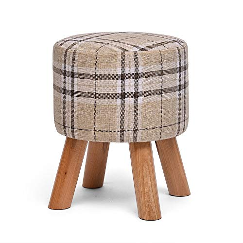 GYH Highchairs LJHA ertongcanyi Upholstered Footstool, Round Wooden Leg Fabric Square 4 Legs Sofa Living Room Bedroom Home Stool Change Shoe Bench (Color : 1, Size : 3340cm)
