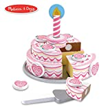 """Melissa & Doug Triple-Layer Party Cake, Wooden Play Food, Tiered Wooden Cake, Self-Sticking Tabs, Sturdy Construction, 13.5"""" H x 10.5"""" W x 2.7"""" L"""