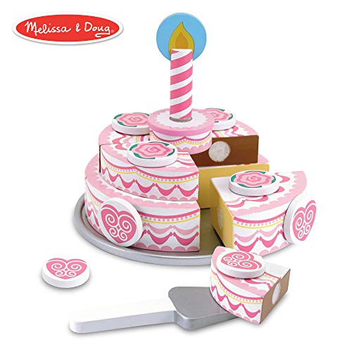 Play Birthday Cake - Melissa & Doug Triple-Layer Party Cake, Wooden Play Food, Tiered Wooden Cake, Self-Sticking Tabs, Sturdy Construction, 13.5