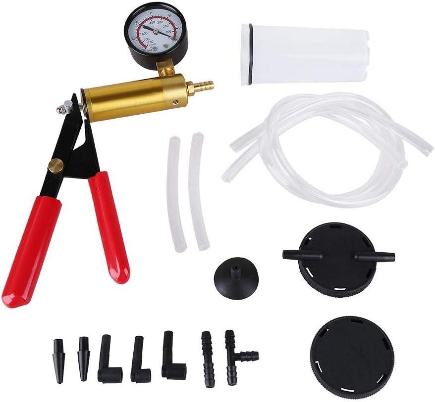 GOTOTOP Hand Held Vacuum Pump Tester Kit,Vacuum Pump Tester Brake Bleeder Set,Vacuum Pressure Pump Tester Tool Durable Brake Fluid Bleeder Bleeding Kit for Car Motorbike Moped Motor Bike