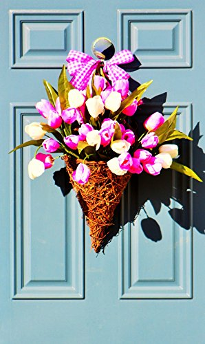 Tulip Basket, Spring Door Decor, Tulip Front Door Decor, Tulip Wreath, Outdoor Violet and White Tulip Floral Arrangement, Mother's Day Gift