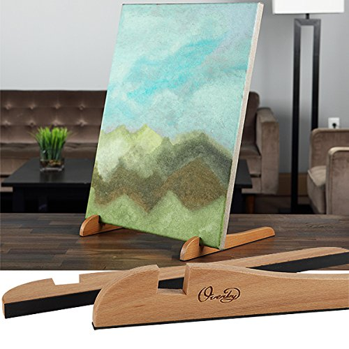 "TABLETOP Painting EASEL The Original Overby Portable Compact Easy Carry Pocket Art Easel for Children Teen & Adult Painters. Rubber Foot Pads Hold and Display Any Canvas Perfectly Stable (12"" Length Natural Wood)"