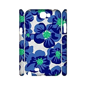 Blue Flowers Personalized 3D Cover Case for Samsung Galaxy Note 2 N7100,customized phone case ygtg613139