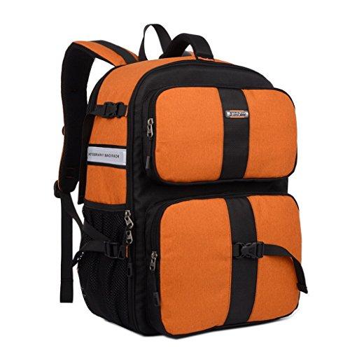 XSY Mochila para Cámara Réflex y Accesorios Gran Capacidad Fotografía Bolsa para Canon Nikon Sony Naranja