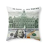 "Society6 Cash Money Old Ben 100 Bucks Dollars Us Currency In God We Trust Throw Pillow Indoor Cover (20"" x 20"") with pillow insert"