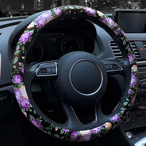 Binsheo Leather Floral Car Automotive Steering Wheel Cover,for Women Girls Ladies,Anti Slip Universal 15, Chinese Style, Balck with Purple Flowers