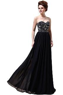 DLFASHION Womens Sweetheart Column Embroidered Chiffon Long Prom Dress