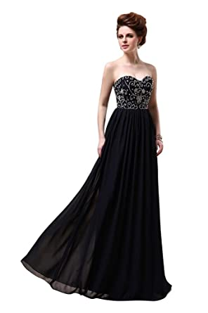 DLFASHION Womens Sweetheart Column Embroidered Chiffon Long Prom Dress: Amazon.co.uk: Clothing
