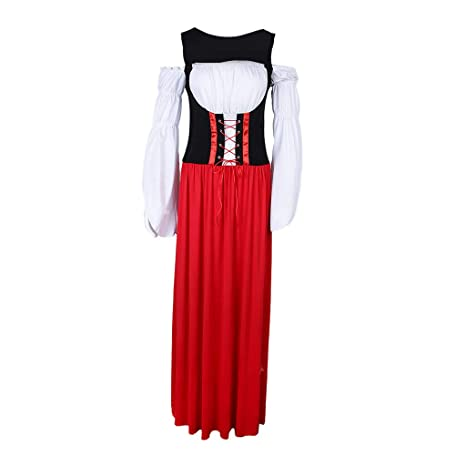PETSOLA Mujer Vestido Largo Dirndl Alemán Traje Tradicional ...