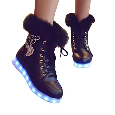 XIANV Fashion led shoes Luminous Shoes LED Lights Colorful Shoes High Casual Shoes Rabbit's Hair Snow Boots
