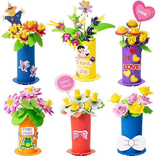 meekoo 4 Sets Flower DIY Craft Kit for Kids Teacher Gift Bouquet Crafts Kits on Mother's Day or Teachers' Day (Style A) ()