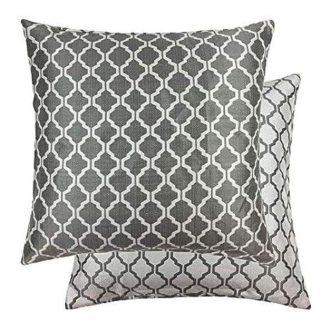 2x Jacquard Moroccan-Style Estampado Blanco de Plata 22 ...