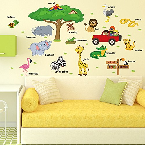 Amaonm Creative Natural Wildlife Zoo Animals with Words Lettering A-Z Wall Decals Nursery Kids room Wall Decorations Tree art Decor Classroom Bedroom Wall Stickers Murals Girls Boys Rooms Wall Decal Zoo Natural