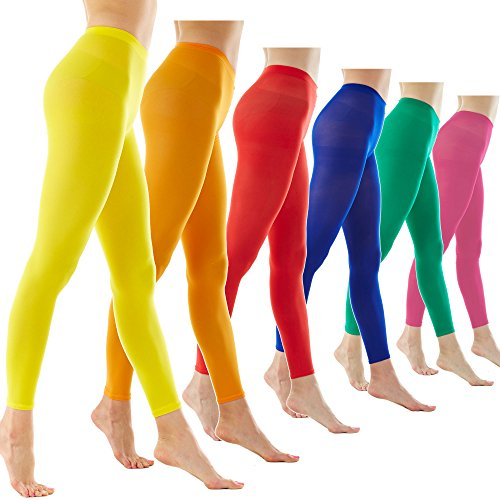 Drag Tights For Swimming (Women's 80Denier Semi Opaque Solid Color Footless Pantyhose Tights 6pair (S/M, 6PAIR - Blue/Red/Green/Yellow/Orange/Hot)