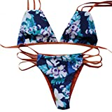 SZHEM Women's Flower Print Padding Two Piece Bikini Set Swimwear Swimsuit