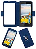 Acm SVIEW Window Designer Rotating Flip Flap Case for Micromax Bolt Q339 Mobile Smart View Cover Stand Blue