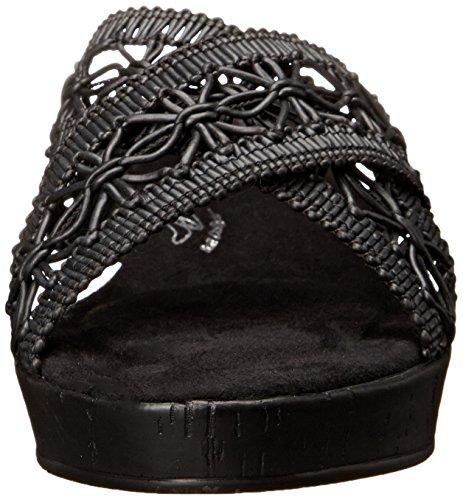 Suave Estilo Por Hush Puppies Jerilyn vestido de la sandalia Black Weave Raffia Polyurethane