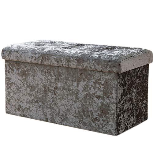 Storage Ottoman Suede Round (DULPLAY Folding Suede Storage Ottoman, with Flipping lid Storage Chest Footrest Padded seat Sturdy Coffee Stool Modern for Bedroom-Gray 76x38x38cm(30x15x15))