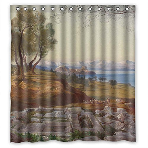 MaSoyy Polyester Beautiful Scenery Landscape Painting Shower Curtains Width X Height / 72 X 72 Inches / W H 180 By 180 Cm Best Choice For Boys Kids Teens Father. - In Beach The Pike Long
