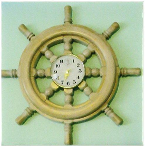 3dRose ct_155347_1 Nautical Wheel Clock on Seafoam Green Ceramic Tile, 4