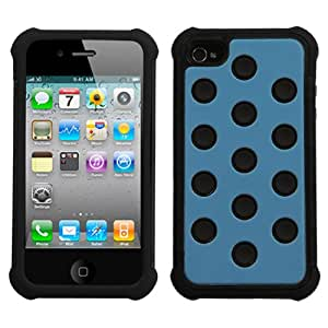 Blue on Black Dots Total Defense Protector Case for Apple iPhone 4 4S + FREE PRIMO DESIGN CARTOON FOLDABLE TOTE BAG