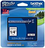 """Genuine Brother 1/4"""" (6mm) Black on Clear TZe P-Touch Tape for Brother PT-6100, PT6100 Label Maker"""