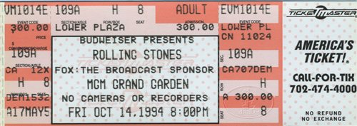 Rolling Stones 1994 Voodoo Lounge Unused Ticket MGM Las Vegas