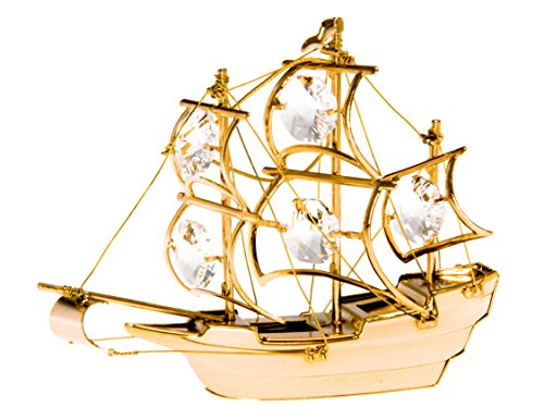 The Mayflower Tall Ship 24k Gold Plated Metal Figurine with Spectra Crystals by Swarovski (Metal Ship Figurines)