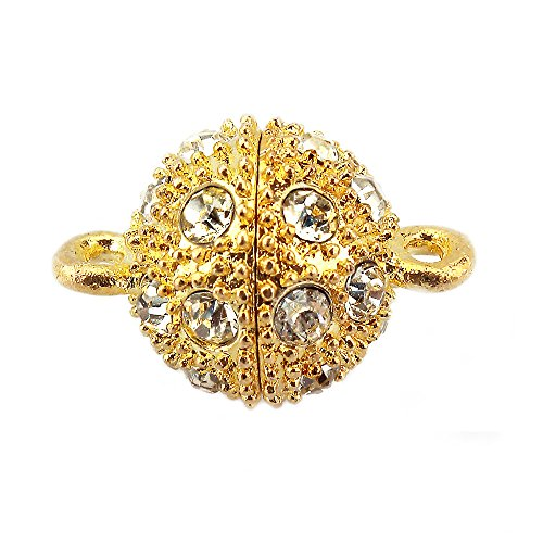LolliBeads (TM) Crystal Shamballa Style Bling Rhinestone Pave Ball Magnetic Beads Clasp for Bracelet Necklace Jewelry, 12 mm Gold Plated 10 (Rhinestone Ball Clasp)
