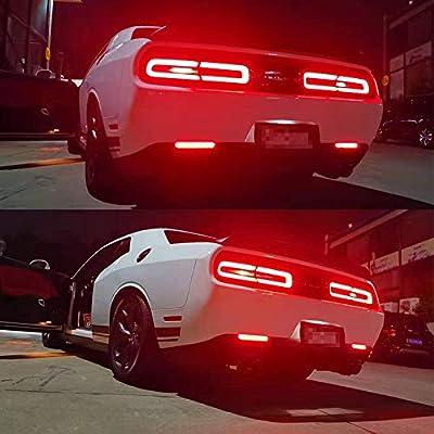 GTINTHEBOX Smoked Lens LED Rear Bumper Reflector Brake Tail Light for 2015-2020 Dodge Challenger: Automotive