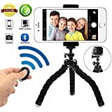 Phone Tripod Phone Stand with Bluetooth Camera Remote and Phone Holder for iPhone X 8/8s 7 7 Plus 6s Plus 6s 6 SE Samsung Galaxy S8 Plus S8 Edge S7 Action Camera GoPro/ Akaso more (BLACK6)