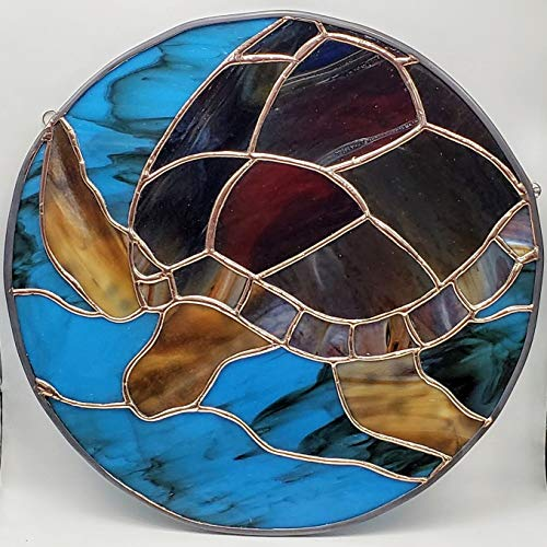 Handmade Stained Glass Sea Turtle Tortoise Wall Hanging Ocean Window Art Panel Suncatcher Island Beach House Decor -