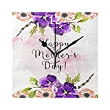 FunnyCustom Square Wall Clock Trendy Mother's Day Wallpaper 7.8 Inch Creative Decorative for Living Room/Kitchen/Bedroom