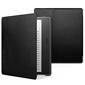 MoKo Funda Compatible con Kindle Oasis 9th Generation 2017 Release y Kindle Oasis 10th Generation 2019 Release - Ultra Delgada Ligera Smart-Shell Soporte Cover Case - Negro