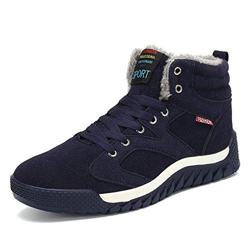 Pastaza Herren Winterschuhe Gefütterte Warme Outdoor Sport Sneaker mit Klettverschluss Gr. 38-48 A-blau