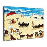 Bestcolor Dachshund Dog On Beach Wall Art Canvas