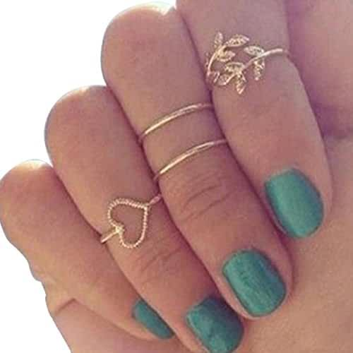 Sannysis Gold Plated Leaf Heart Joint Knuckle Nail Ring Set of Four Rings