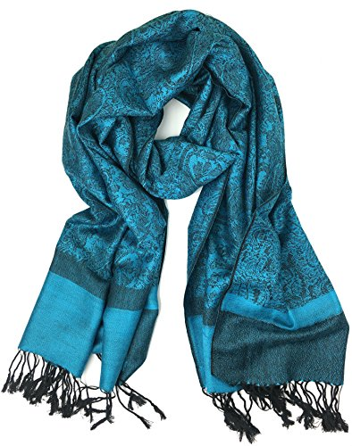 - Plum Feathers Tapestry Ethnic Paisley Pattern Pashmina Scarf cyan blue