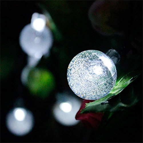 Solar outdoor string lights easydecor ball 30 led 8 modes 21ft white decorative christmas fairy - Led decorative string lights ...