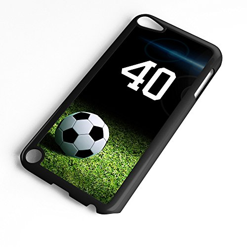 (iPod Touch Case Fits 6th Generation or 5th Generation Soccer Ball #6500 Choose Any Player Jersey Number 40 in Black Plastic Customizable by TYD Designs)
