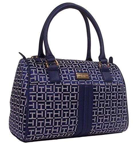 Handbag Purse Tote Hilfiger Logo Bag Blue Satchel Tommy Navy qx6HXPwq