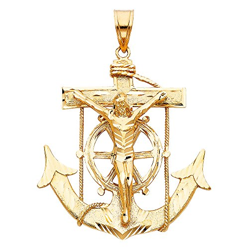 Solid Yellow Gold Jesus Cross - 3