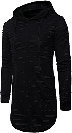 S-Fly Mens Front Zip Slim Fit Irregular Longline Hoodies Sweatshirt Jackets