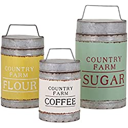 Imax 88665-3 Dairy Barn Decorative Lidded Containers – Handcrafted, Set of Three Decorative Canisters with Vintage- Inspired Labels. Home Decor Accents