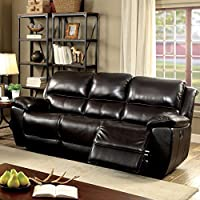 Furniture of America Clemin Top Grain Leather Match Dark Brown Reclining Sofa