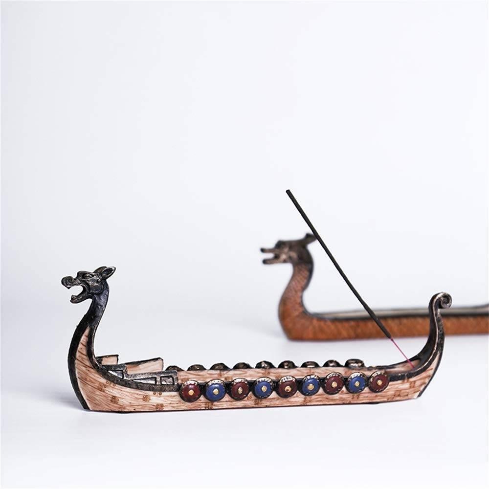 YUMUO Resin Incense Stick Burner Set,Viking Ships Stick Incense Holder with Craft Catcher Ash Catcher Ideal for Yoga Home Office Party Hx1304 by YUMUO (Image #3)